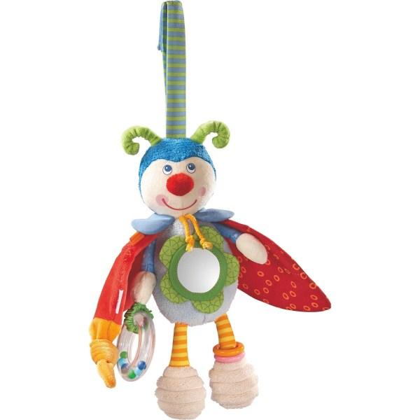 La coccinelle Juju à suspendre avec des ailes rouges des antennes verte une tête bleue un miroir sur le ventre