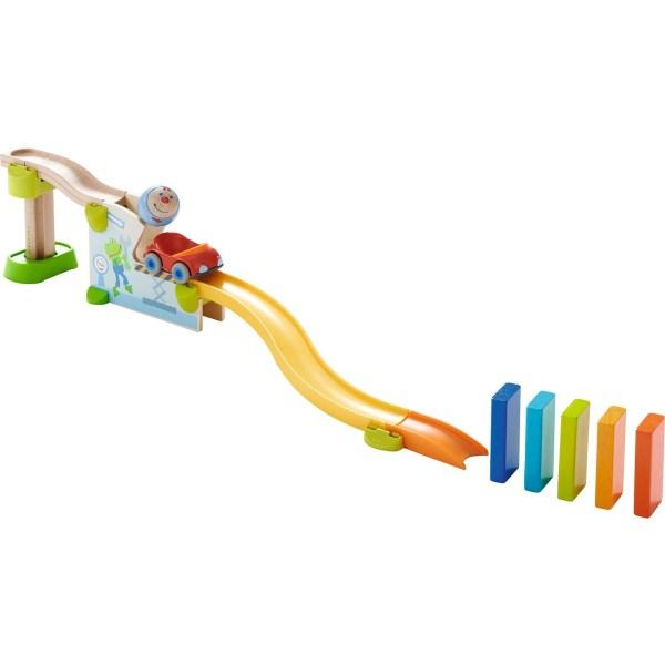 Toboggan circuit Kullerbu Voiture avec des éléments en bois et des éléments en plastique multicolor