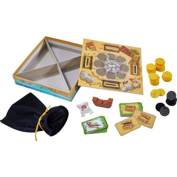 éléments du jeu L'or de Captain Black avec le sac les pièces les cartes et le plateau