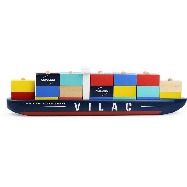 Porte-Conteneurs Jules Verne en bois avec des container jaune bleu rouge