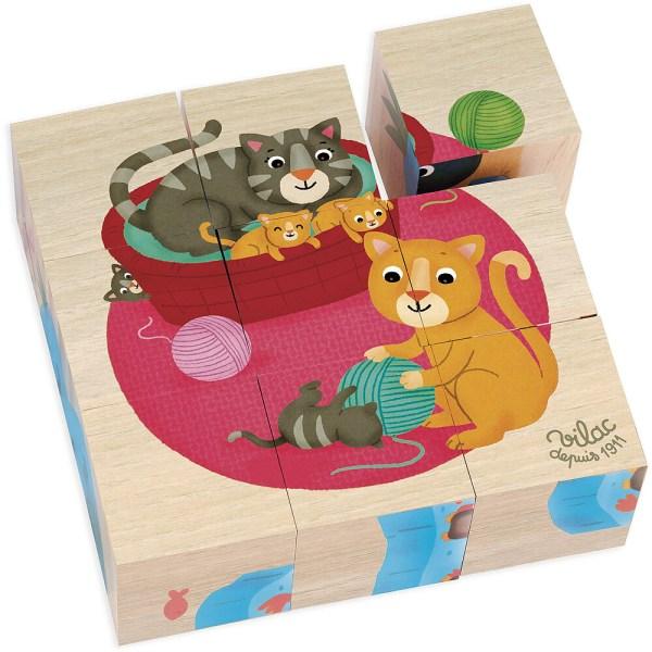 Cubes en bois puzzles les animaux