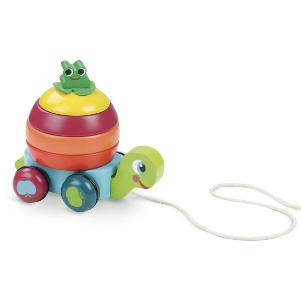 Léonie la tortue en bois à tirer avec sa carapace multicolore
