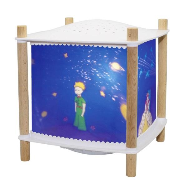 Lanterne révolution Petit Prince coin en bois avec plastique blanc dessus et dessous et décor du petit prince bleu
