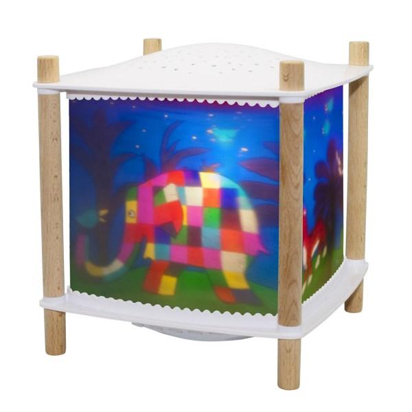Lanterne Révolution Elmer coin en bois avec plastique blanc dessus et dessous et décor Elmer bleu nuit