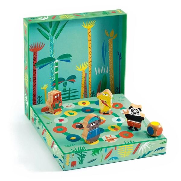 jeu de parcours avec 4 animaux et un dé à couleurs du jeu Ludo Park