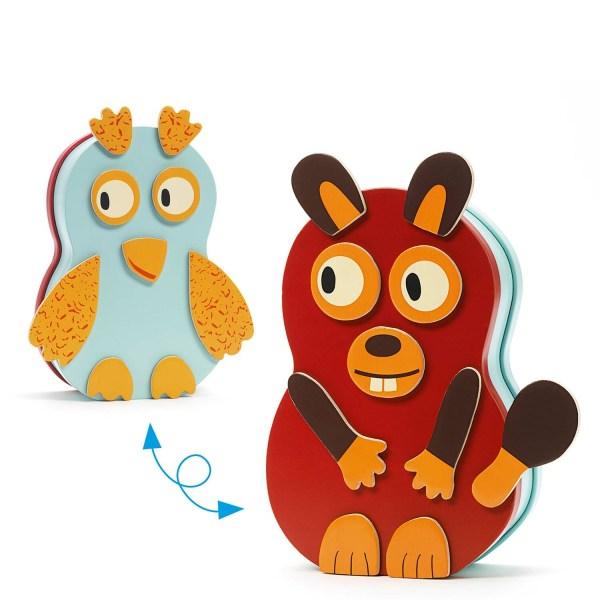 2 côté du jeu magnétique InZeBox Animo avec une chouette et un autre animal