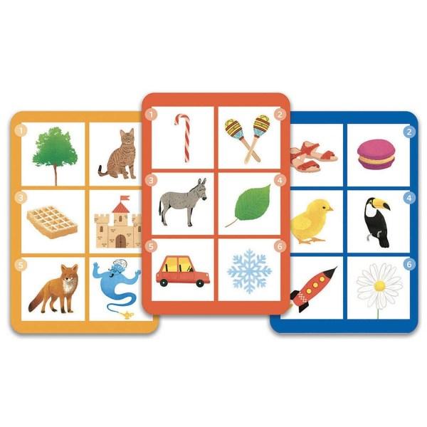 3 cartes du jeu Motamo avec 6 images sur chaque