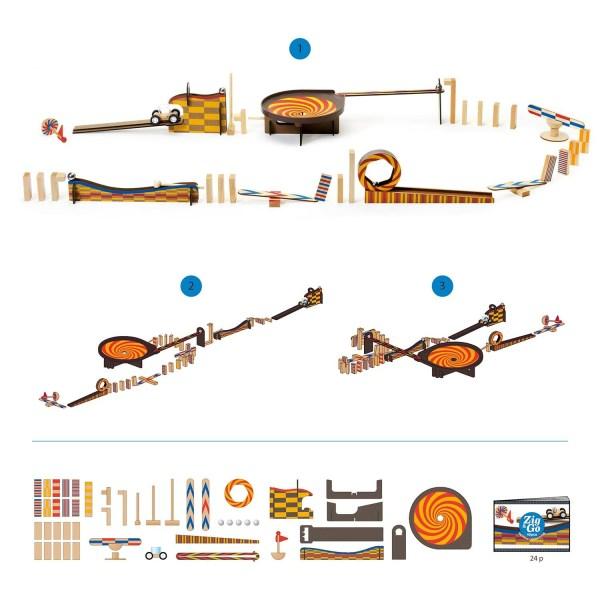 Zig & Go Wroom contenu de la boite avec différents circuits