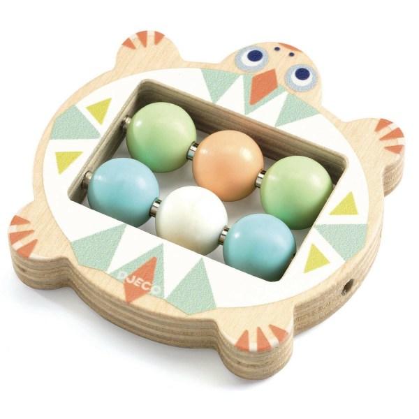 Hochet BabyBouli tortue en bois avec 6 boule couleurs pastel au milieu
