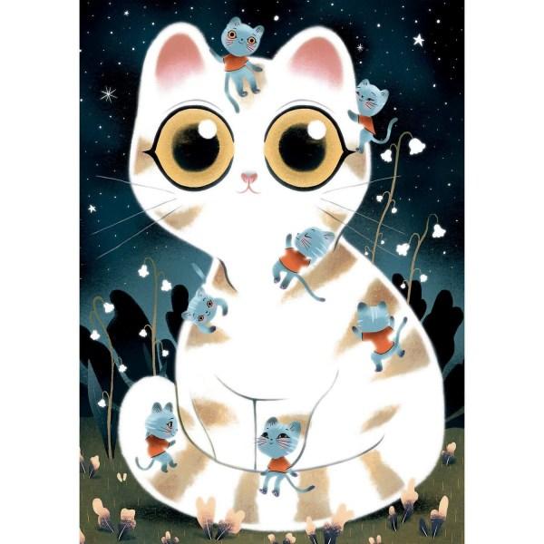 Puzzle phosphorescent chats câlins 50 pièces image normale
