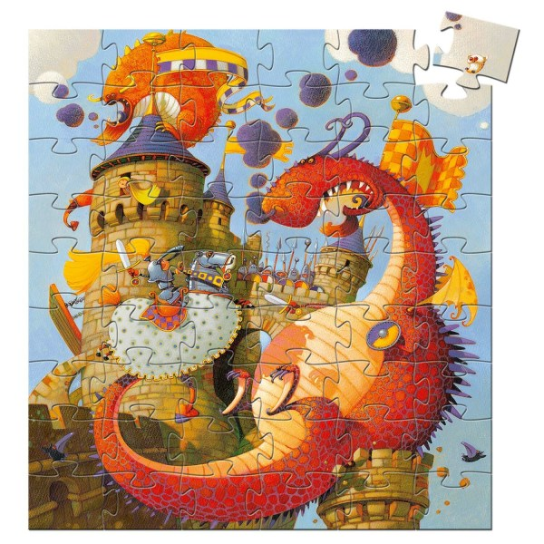 Puzzle Dragon 54 pièces avec un château attaqué par des dragons et défendu par des chevaliers
