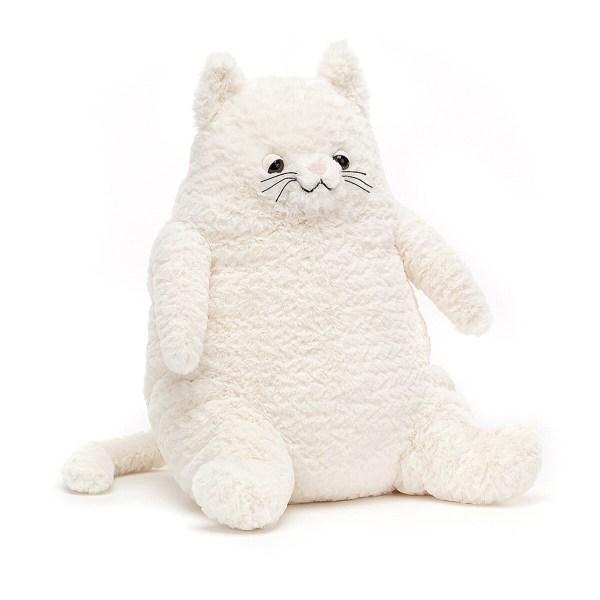 Son ventre rebondi aussi doux que de la guimauve et son regard câlin donnent envie de l'adopter tout de suite. Amore Cat tient bien assis sur son derrière et ne griffe jamais !