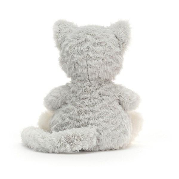 Mitten Kitten tient bien assis sur son derrière et sa longue queue permet à bébé de l'attraper facilement.
