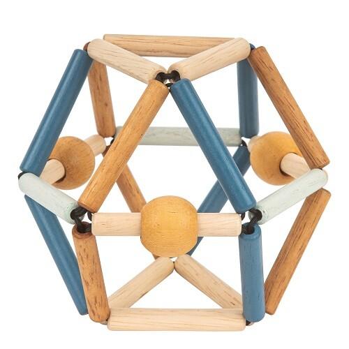 Hochet en bois Deep Blue bois clair, bois foncé, bleu foncé, bleu clair dans sa forme initiale