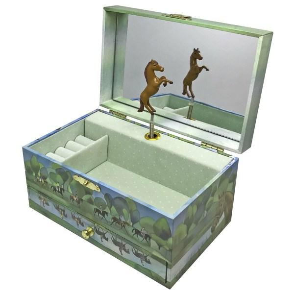 Coffret à bijoux musical Cheval ouvert avec un cheval qui peut tourner, un miroir un grand compartiment avec un emplacement pour les bagues