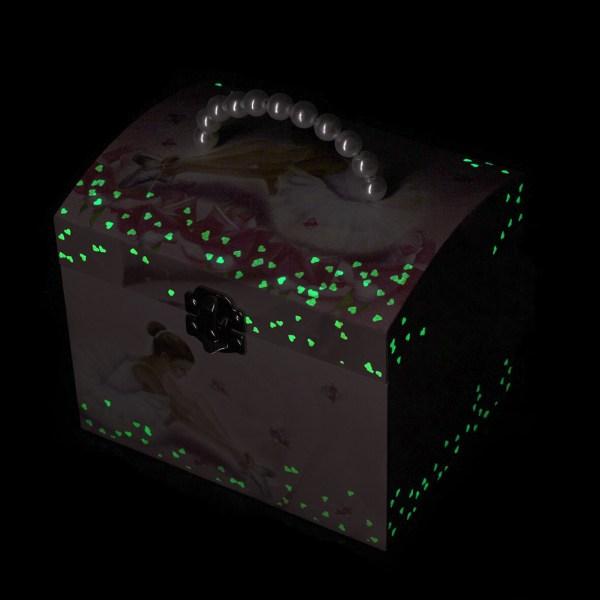 Grande boite à bijoux Ballerine fermée dans le noir et phosphorescent
