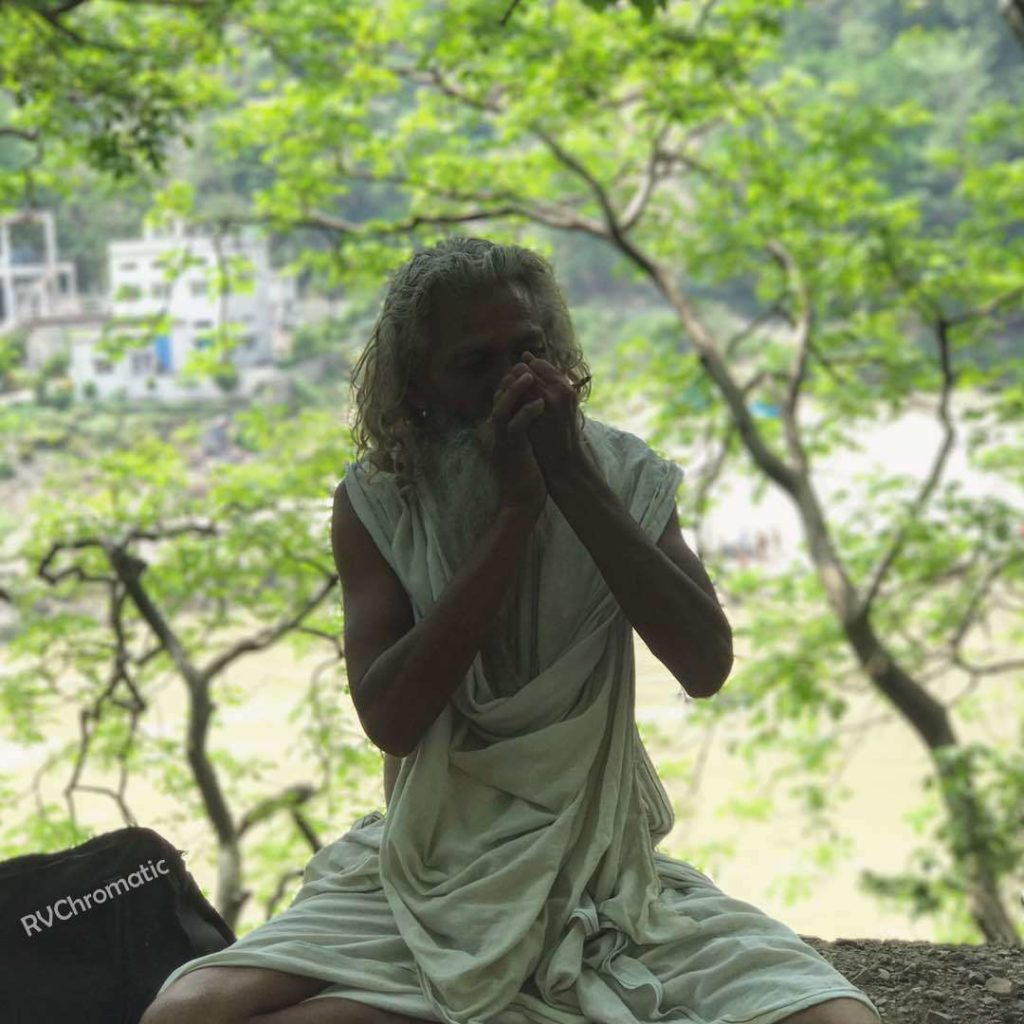 A baba smoking ganja in Rishikesh