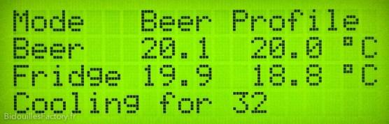 Une vue de l'écran LCD relié à l'Arduino