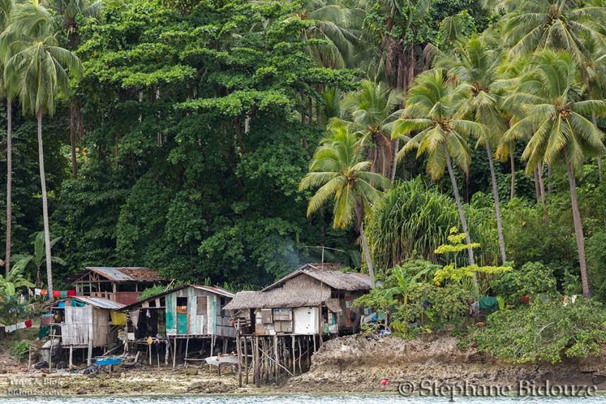 Wooden houses in Santa Cruz village, Kalikud island