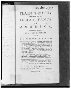 "Image of the title page for Thomas Paine's ""Common Sense."""