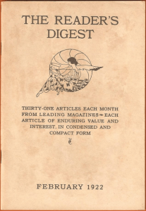 "Image of ""Reader's Digest"" first issue, published Feb. 1922."