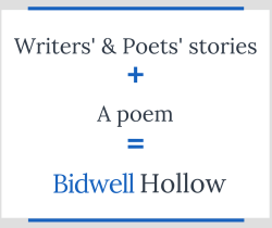 "Image that reads, ""Writers' & poets' stories plus a poem equals Bidwell Hollow."""