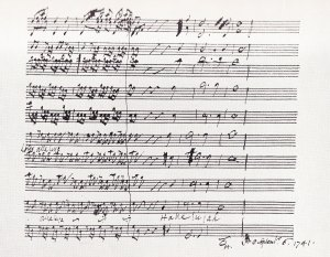 "Photo of the final bars of the ""Hallelujah"" chorus from Messiah by Handel, from the composer's autograph score."