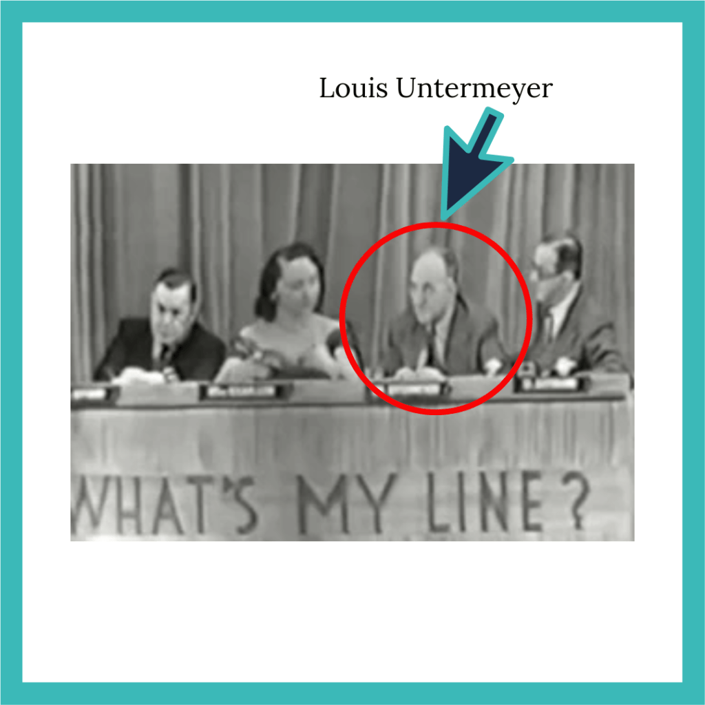 "Original panelists for ""What's My Line?,"" including Louis Untermeyer"