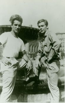 Jack Kerouac standing next to Lucien Carr.