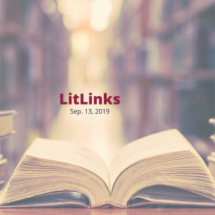 An open book on a table below the words, LitLinks: Sep. 13, 2019