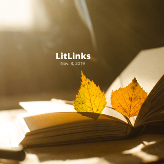 "Two yellow leaves on the pages of an open book and these words: ""LitLinks, Nov. 8, 2019."""