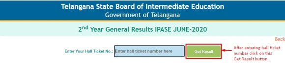 TS Inter Supplementary Results Hall Ticket Screen 2020