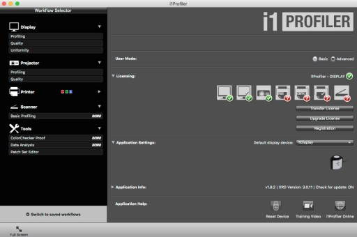 i1 Profiler, program dokalibracji wielu urządzeń.