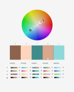 Idea harmonii komplementarnej: zestawienie 2 barw poprzeciwnych stronach koła kolorów.