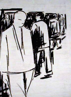 """Paulo Hernâni, 2001 """"Figuras"""" Desenho s/ tela 167 x 119 cm Prémio Aquisição """"Baviera/BMW"""" na XI Bienal de Cerveira, realizada de 18 de agosto a 15 de setembro de 2001"""