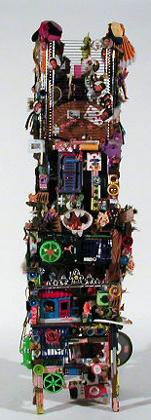 Cláudio Sarmento 2003 TORRE DE BABEL Assemblage 180 x 40 x 40 cm