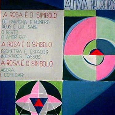 António Sampaio (PT) Pintura-Poema. Homenagem a Almada Negreiros, 1978 Acrílica sobre aglomerado 107 x 90 cm António Sampaio realizou Pintura-Poema durante o Atelier Livre de Artes Plásticas da I Bienal Internacional de Arte de Vila Nova de Cerveira, que se realizou de 5 a 31 de agosto de 1978.