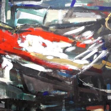 Artur Bual (PT); Henrique Silva (PT); Jaime Isidoro (PT); Henrique do Vale (AO); Margarida Leão (PT); Augusto Canedo (PT) Sem título (painel coletivo), 1991 Acrílica sobre platex 120 x 270 cm Obra realizada no Atelier Livre da VII Bienal Internacional de Arte de Cerveira, decorrida de 15 de agosto a 21 de setembro de 1992.