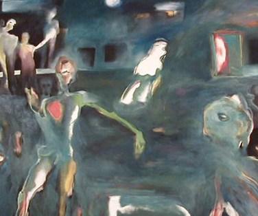 Miguel D'Alte (PT) A noite da composição, 1984 Óleo sobre tela 150 x 200 cm Obra apresentada na IV Bienal Internacional de Arte de Cerveira, realizada de 4 de agosto a 2 de setembro de 1984.