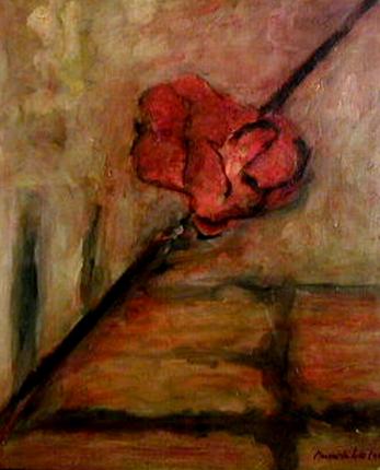 Margarida Leão, 1998 O FIO DE ARIANE Óleo s/ Madeira 65 x 54 cm