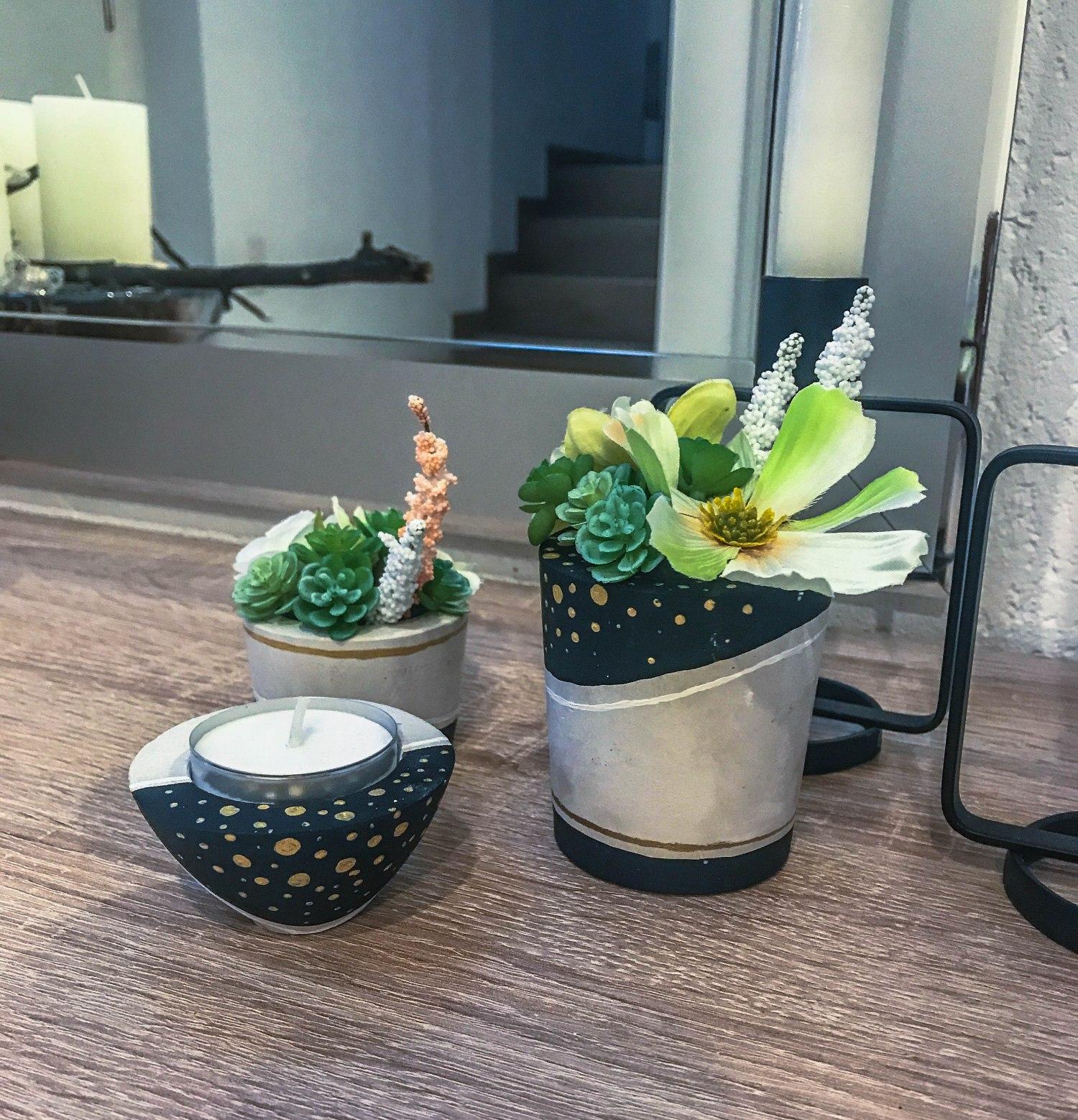 DIY Gips Teelicht- und Blumenhalter