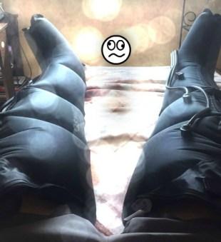 Con botas de compresión