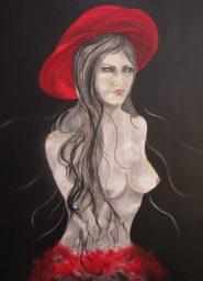 Regina Merta, ROTER HUT, 100 x 80 cm, Acryl auf Leinen, 2015