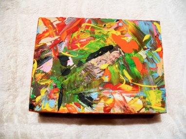 Herwig Maria Stark, ART CUBE 1/8, size 15 x 20 x 6 cm, Mixed media on wooden cube