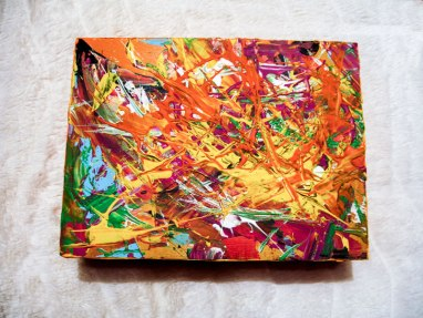 Herwig Maria Stark, ART CUBE 2/1, size 15 x 20 x 6 cm, Mixed media on wooden cube