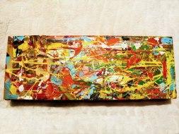 Herwig Maria Stark, ART CUBE 2/9, size 15 x 40 x 6 cm, Mixed media on wooden cube