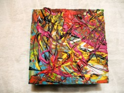 Herwig Maria Stark, ART CUBE 3/16, size 15 x 15 x 6 cm, Mixed media on wooden cube