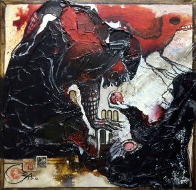 Jürgen Bley, VERSUCHUNG, mixed media auf Leinen, 40 c 40 x 2 cm, 2017