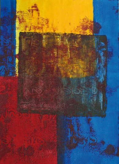 Gerlinde Kosina, ROT-BLAU-GELB, 29.7 x 21 cm, acrylic on canvas, 2015