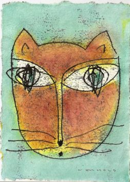 Hannes Neuhold, KATZE, mixed media on handcrafted paper, 21 x 15 cm